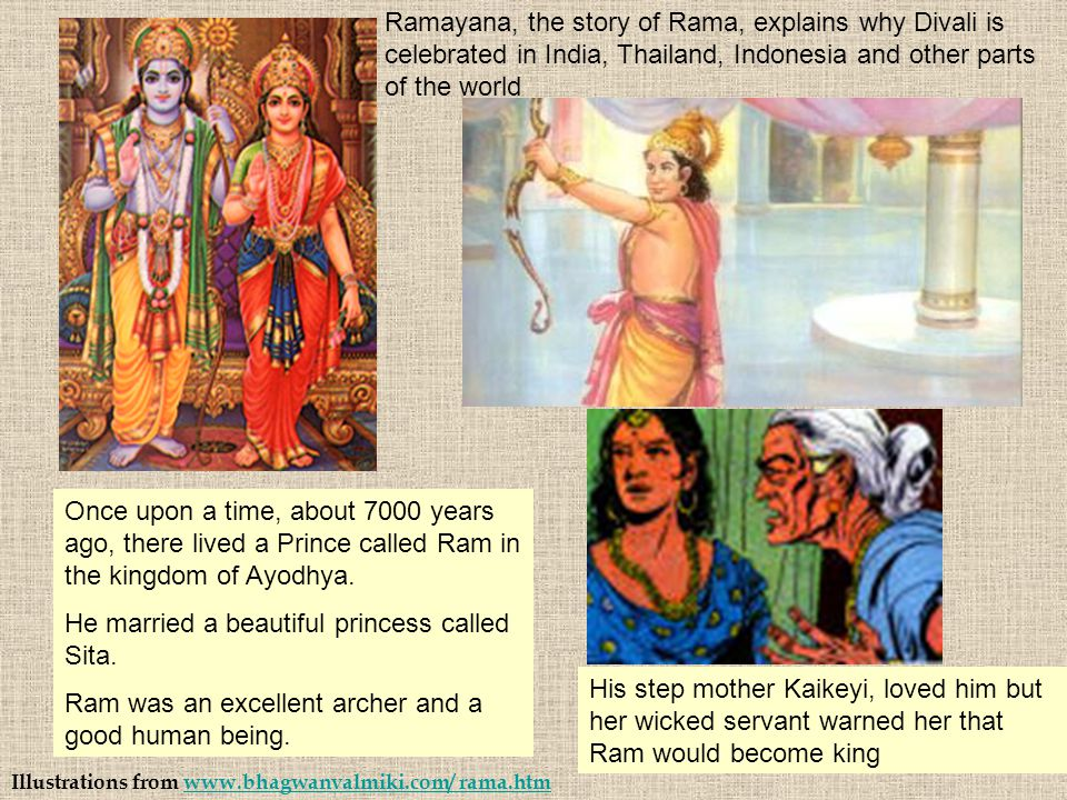 Illustrations from www.bhagwanvalmiki.com/ rama.htmwww.bhagwanvalmiki.com/ rama.htm Once upon a time, about 7000 years ago, there lived a Prince calle