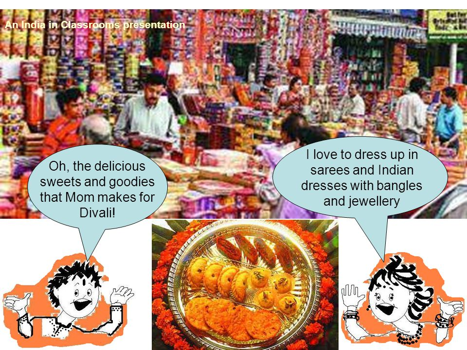 Oh, the delicious sweets and goodies that Mom makes for Divali! An India in Classrooms presentation I love to dress up in sarees and Indian dresses wi