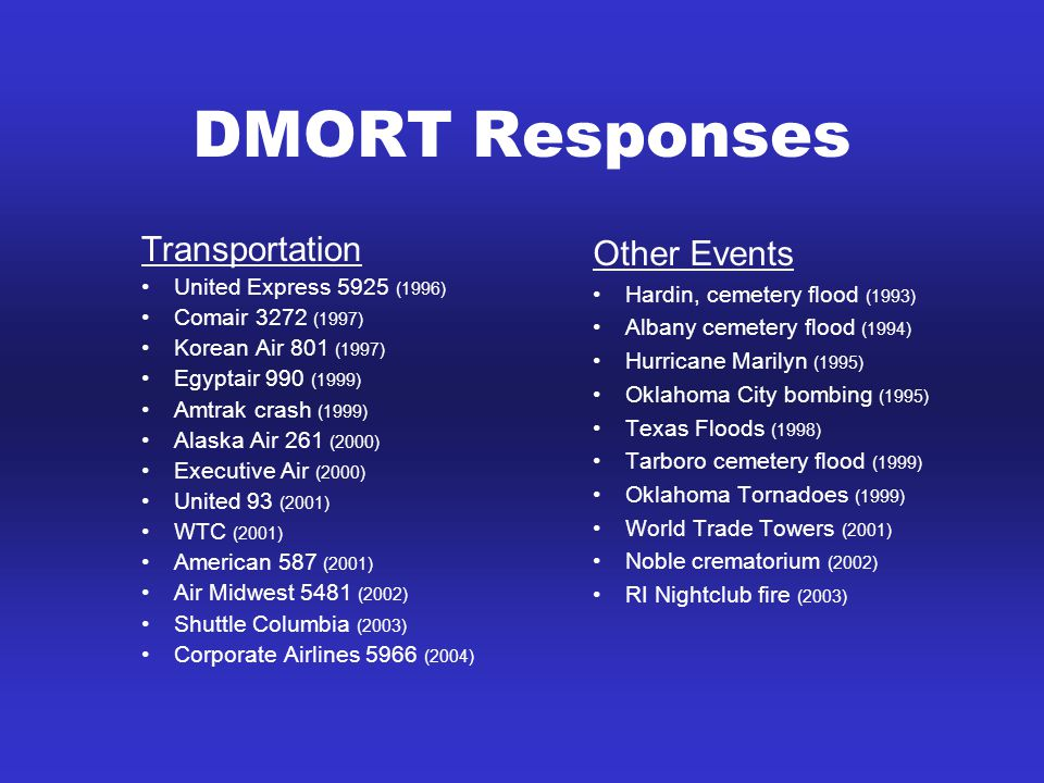 DMORT Responses Transportation United Express 5925 (1996) Comair 3272 (1997) Korean Air 801 (1997) Egyptair 990 (1999) Amtrak crash (1999) Alaska Air 261 (2000) Executive Air (2000) United 93 (2001) WTC (2001) American 587 (2001) Air Midwest 5481 (2002) Shuttle Columbia (2003) Corporate Airlines 5966 (2004) Other Events Hardin, cemetery flood (1993) Albany cemetery flood (1994) Hurricane Marilyn (1995) Oklahoma City bombing (1995) Texas Floods (1998) Tarboro cemetery flood (1999) Oklahoma Tornadoes (1999) World Trade Towers (2001) Noble crematorium (2002) RI Nightclub fire (2003)