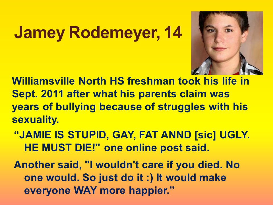 Jamey Rodemeyer, 14 Williamsville North HS freshman took his life in Sept.