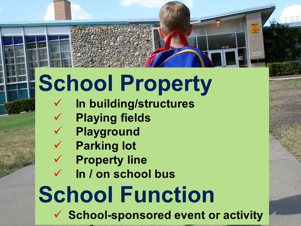 School Property In building/structures Playing fields Playground Parking lot Property line In / on school bus School Function School-sponsored event or activity