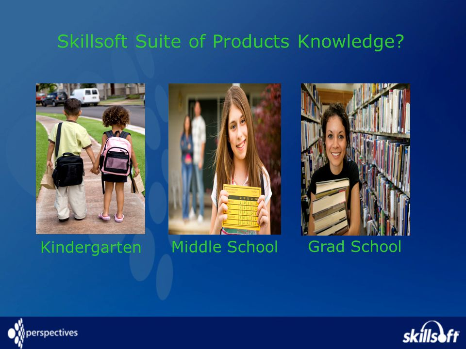 Kindergarten Middle School Grad School Skillsoft Suite of Products Knowledge