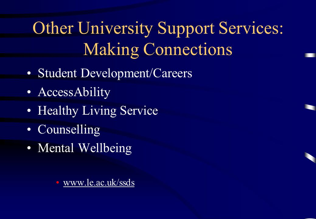 Other University Support Services: Making Connections Student Development/Careers AccessAbility Healthy Living Service Counselling Mental Wellbeing ww