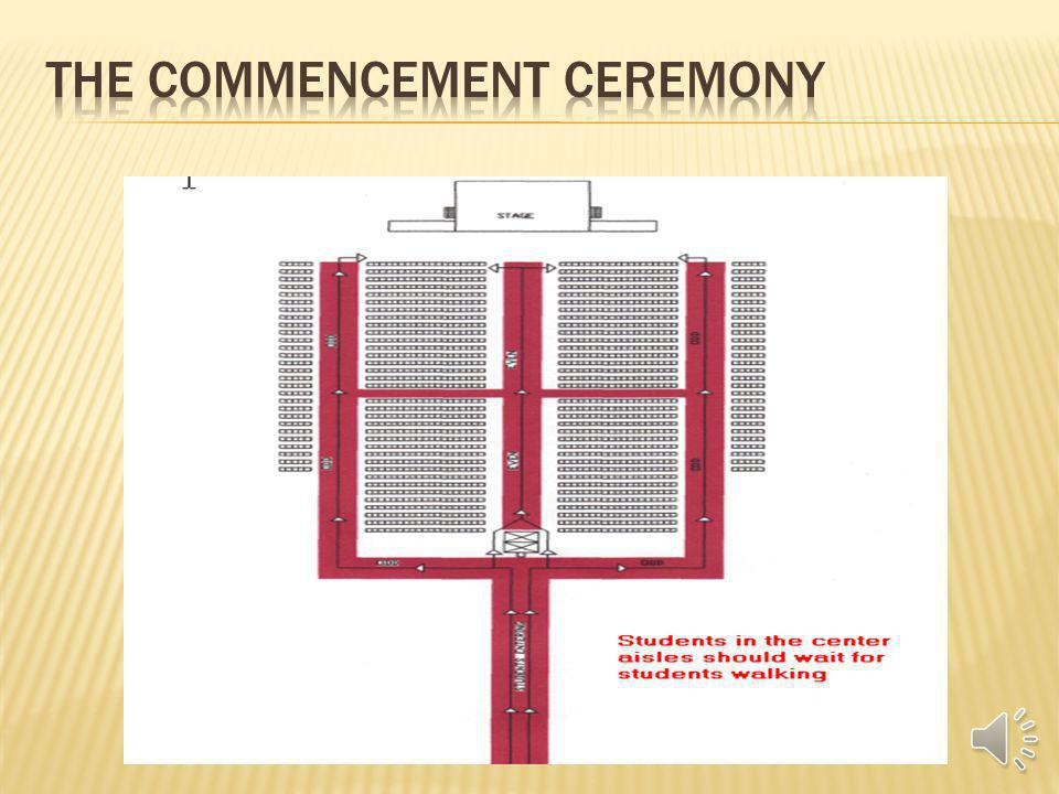 You will enter from the West Side of the Arena. Youll be divided into four lines on the red carpet Stay on the red carpet! Student Marshals will guide