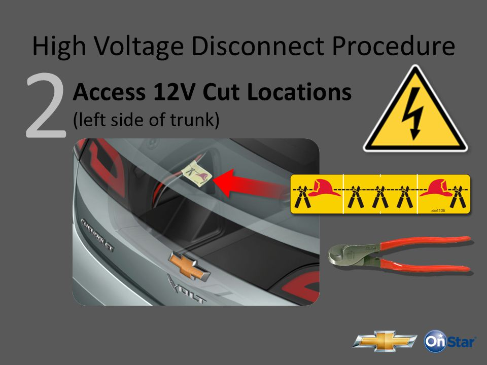 High Voltage Disconnect Procedure 2 Access 12V Cut Locations (left side of trunk)