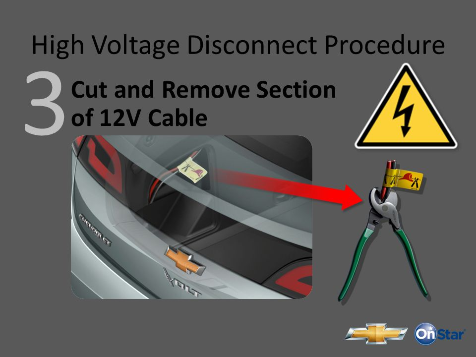 High Voltage Disconnect Procedure 3 Cut and Remove Section of 12V Cable