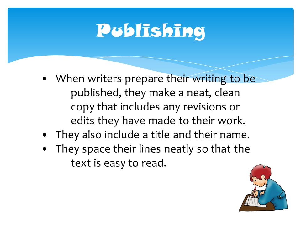 When writers prepare their writing to be published, they make a neat, clean copy that includes any revisions or edits they have made to their work.