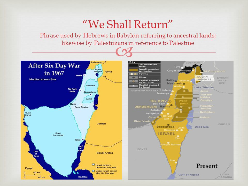 Phrase used by Hebrews in Babylon referring to ancestral lands; likewise by Palestinians in reference to Palestine We Shall Return