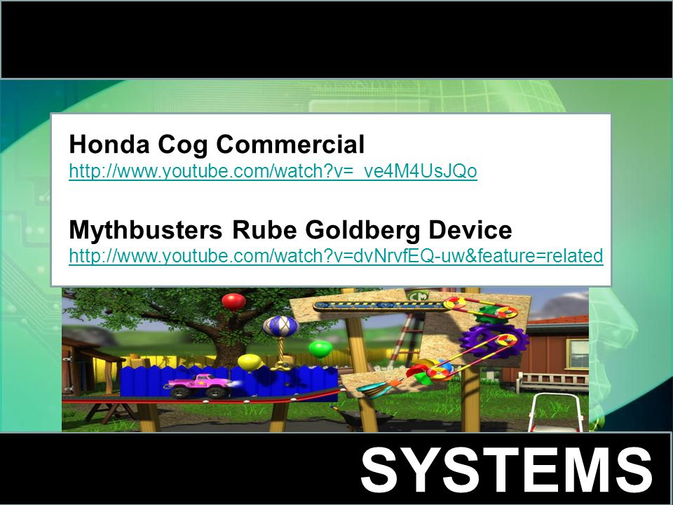 SYSTEMS Honda Cog Commercial http://www.youtube.com/watch v=_ve4M4UsJQo Mythbusters Rube Goldberg Device http://www.youtube.com/watch v=dvNrvfEQ-uw&feature=related