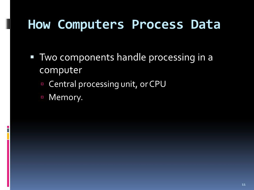 How Computers Process Data Two components handle processing in a computer Central processing unit, or CPU Memory. 11