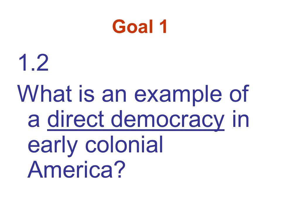 Goal 1 1.2 What is an example of a direct democracy in early colonial America