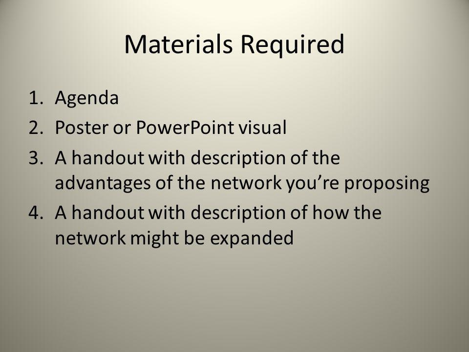 Materials Required 1.Agenda 2.Poster or PowerPoint visual 3.A handout with description of the advantages of the network youre proposing 4.A handout wi
