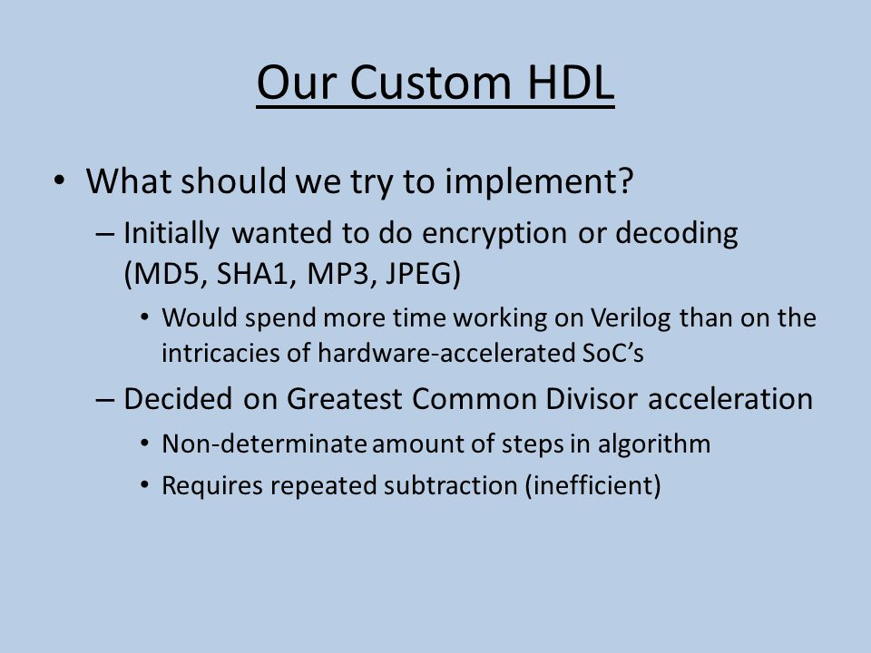 Our Custom HDL What should we try to implement.