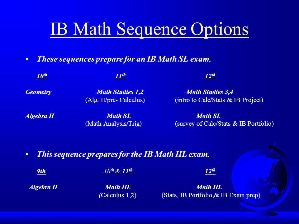 IB Math Sequence Options These sequences prepare for an IB Math SL exam. 10 th 11 th 12 th Geometry Math Studies 1,2 Math Studies 3,4 (Alg. II/pre- Ca