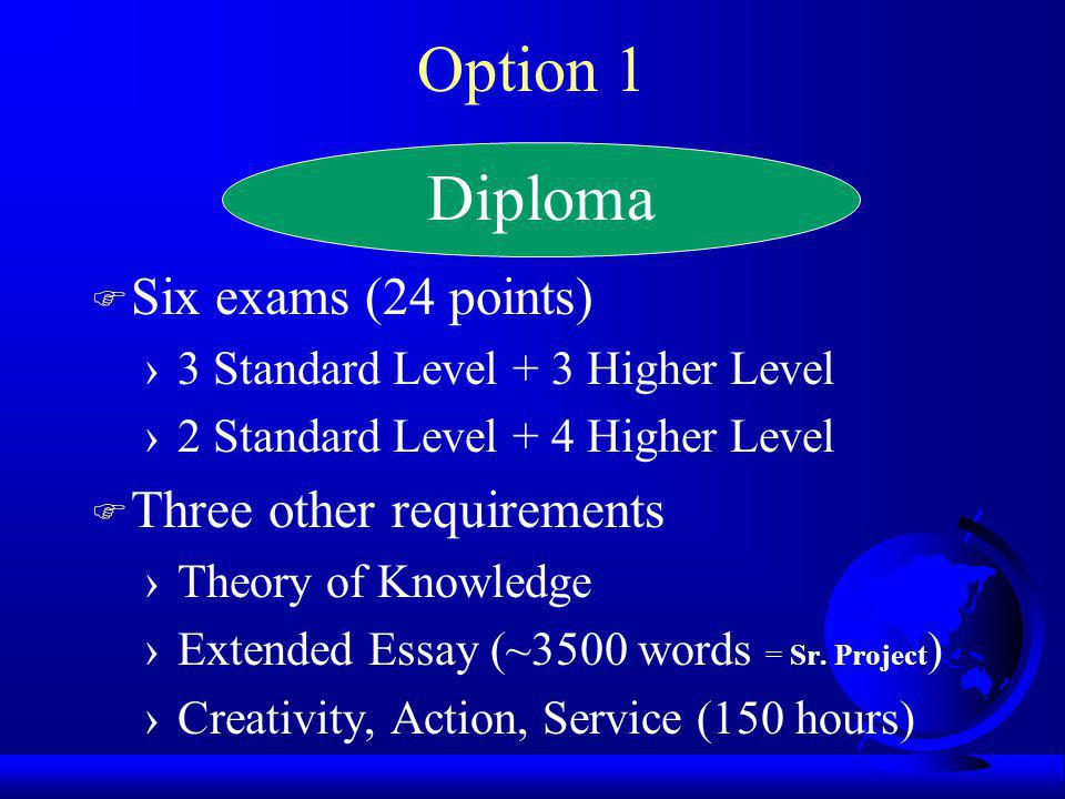 Option 1 F Six exams (24 points) 3 Standard Level + 3 Higher Level 2 Standard Level + 4 Higher Level F Three other requirements Theory of Knowledge Ex