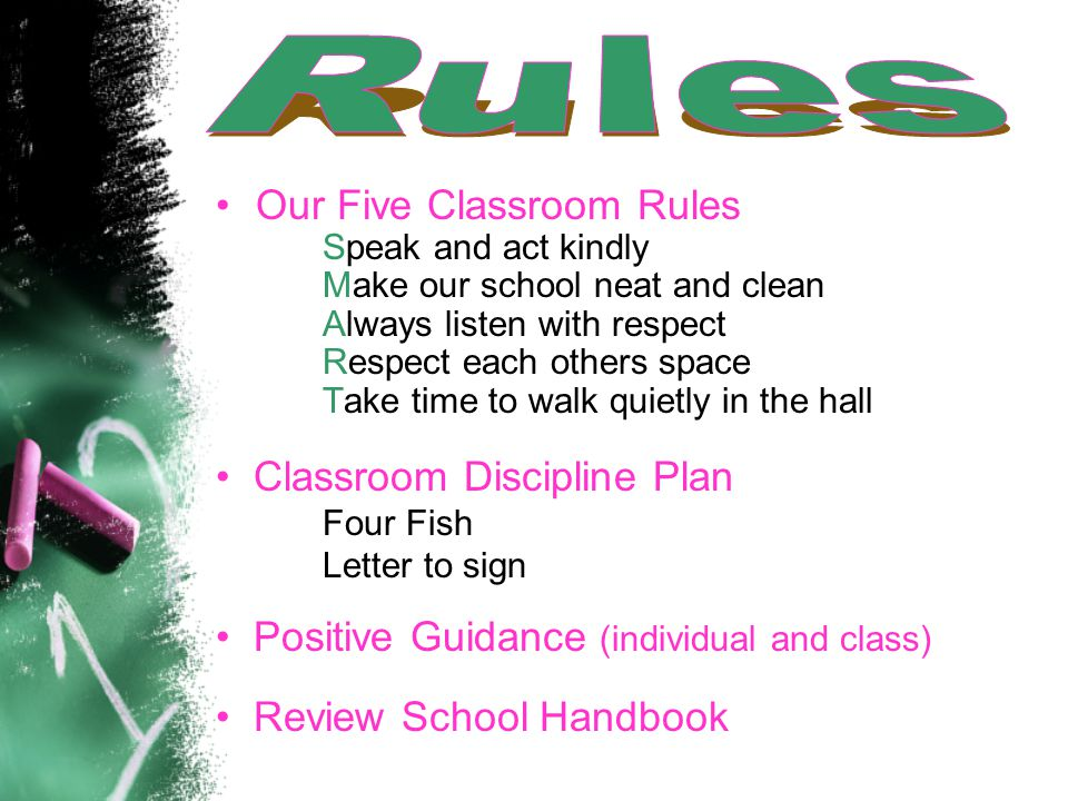 Our Five Classroom Rules Speak and act kindly Make our school neat and clean Always listen with respect Respect each others space Take time to walk quietly in the hall Classroom Discipline Plan Four Fish Letter to sign Positive Guidance (individual and class) Review School Handbook