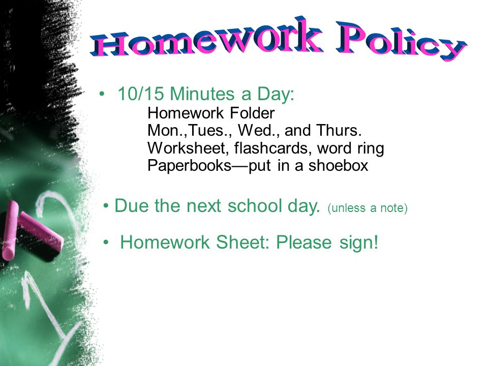 10/15 Minutes a Day: Homework Folder Mon.,Tues., Wed., and Thurs.