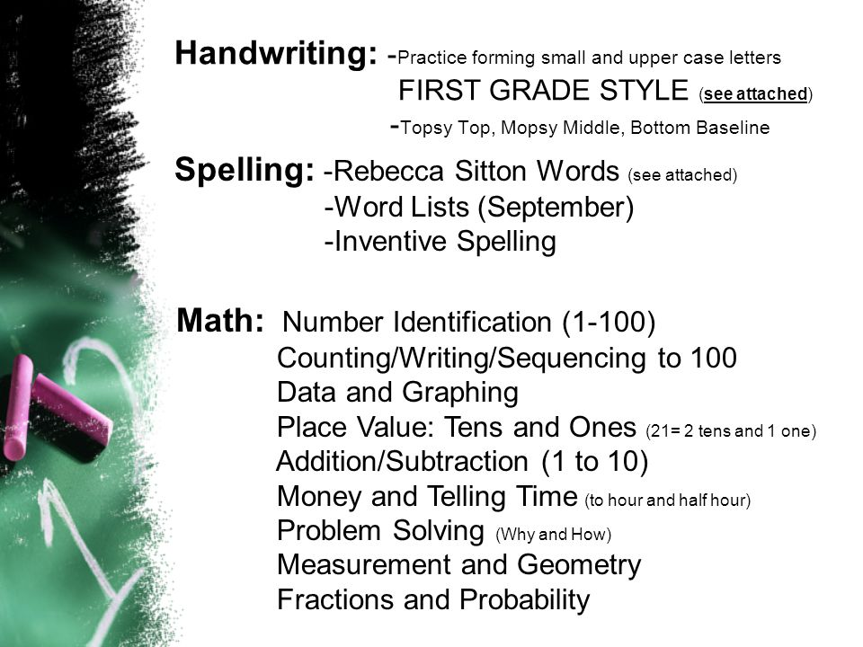 Handwriting: - Practice forming small and upper case letters FIRST GRADE STYLE (see attached) - Topsy Top, Mopsy Middle, Bottom Baseline Spelling: -Rebecca Sitton Words (see attached) -Word Lists (September) -Inventive Spelling Math: Number Identification (1-100) Counting/Writing/Sequencing to 100 Data and Graphing Place Value: Tens and Ones (21= 2 tens and 1 one) Addition/Subtraction (1 to 10) Money and Telling Time (to hour and half hour) Problem Solving (Why and How) Measurement and Geometry Fractions and Probability