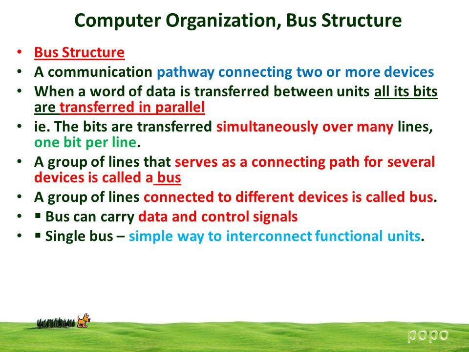 Bus Structure A communication pathway connecting two or more devices When a word of data is transferred between units all its bits are transferred in