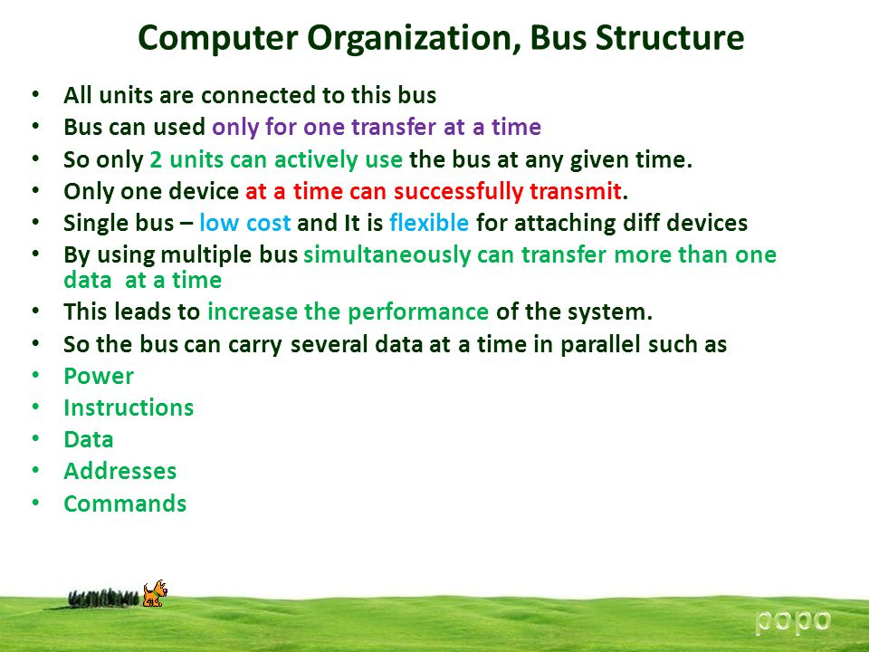 Computer Organization, Bus Structure All units are connected to this bus Bus can used only for one transfer at a time So only 2 units can actively use