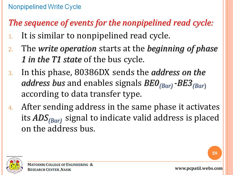 The sequence of events for the nonpipelined read cycle: 1. It is similar to nonpipelined read cycle. write operation beginning of phase 1 in the T1 st