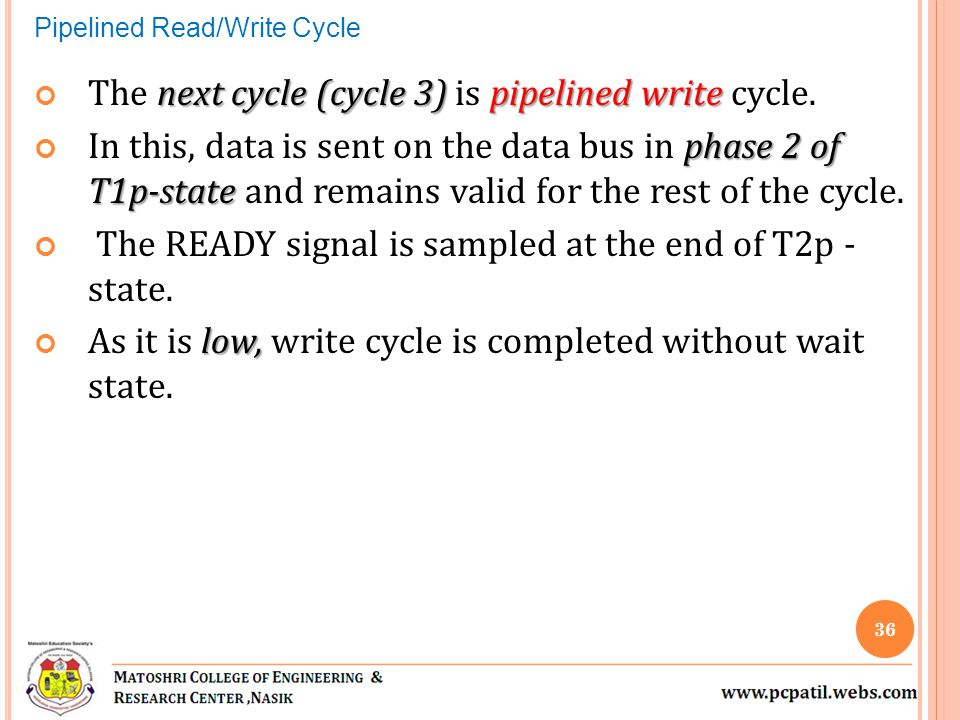 next cycle (cycle 3) pipelined write The next cycle (cycle 3) is pipelined write cycle. phase 2 of T1p-state In this, data is sent on the data bus in