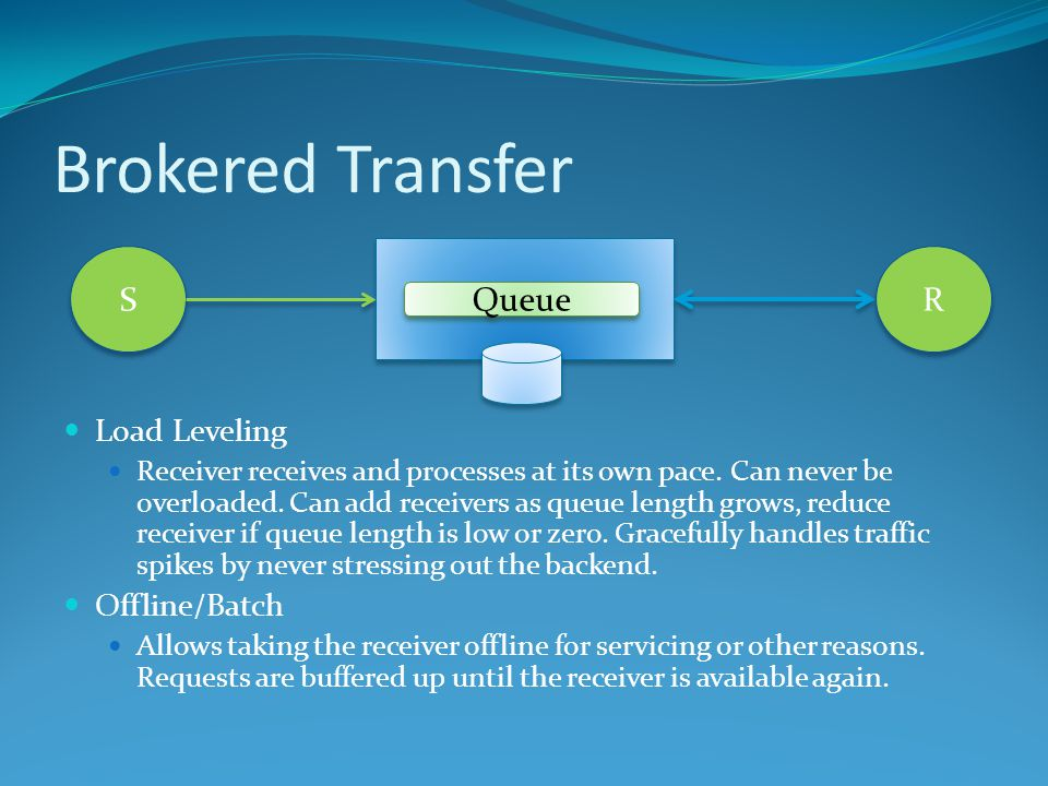 Brokered Transfer Load Leveling Receiver receives and processes at its own pace.