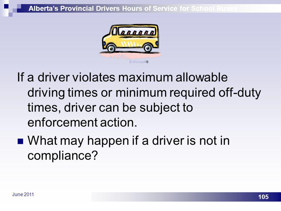 Albertas Provincial Drivers Hours of Service for School Buses June 2011 105 If a driver violates maximum allowable driving times or minimum required o