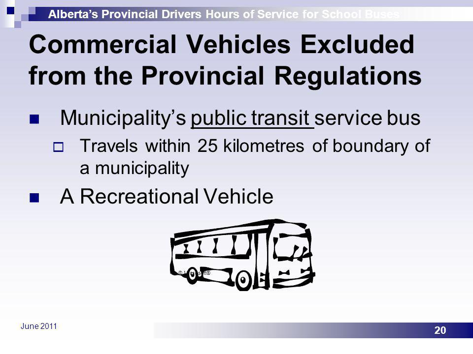 Albertas Provincial Drivers Hours of Service for School Buses June 2011 20 Municipalitys public transit service bus Travels within 25 kilometres of bo