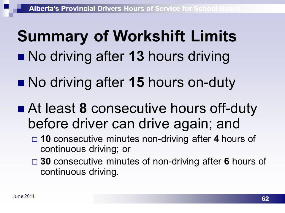 Albertas Provincial Drivers Hours of Service for School Buses June 2011 62 Summary of Workshift Limits No driving after 13 hours driving No driving af