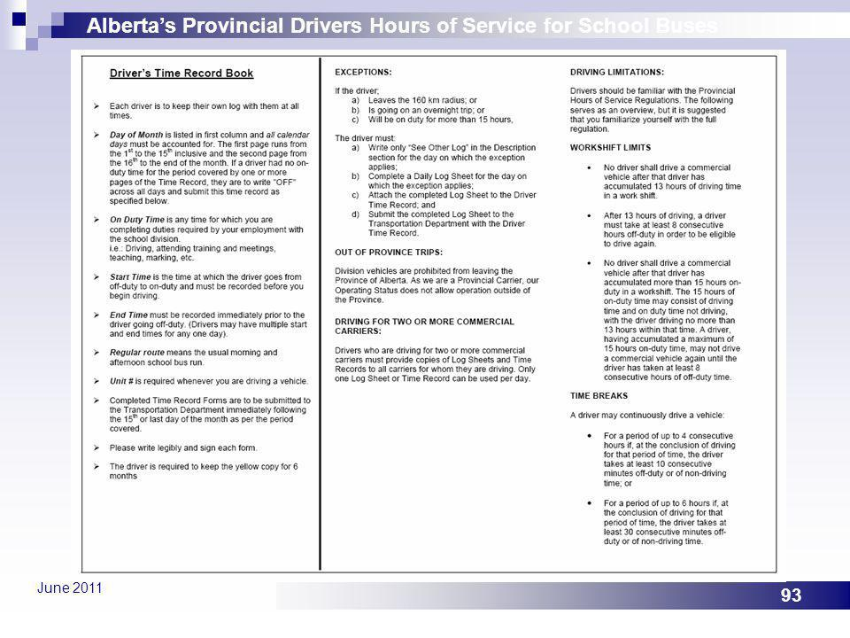 Albertas Provincial Drivers Hours of Service for School Buses June 2011 93