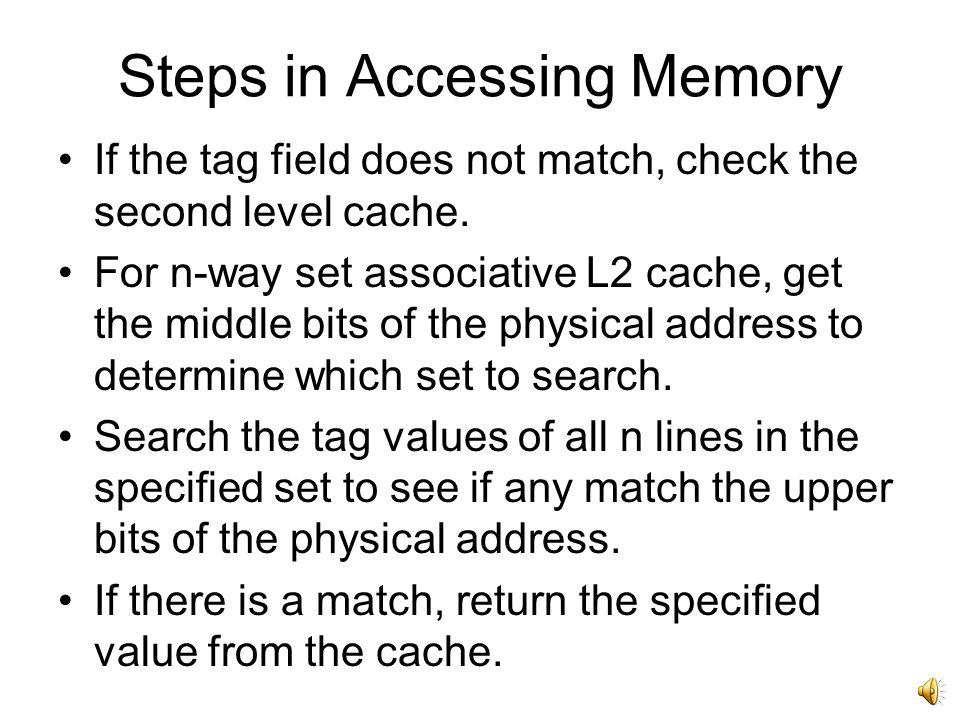 Steps in Accessing Memory Concatenate page address with offset to create the physical address.