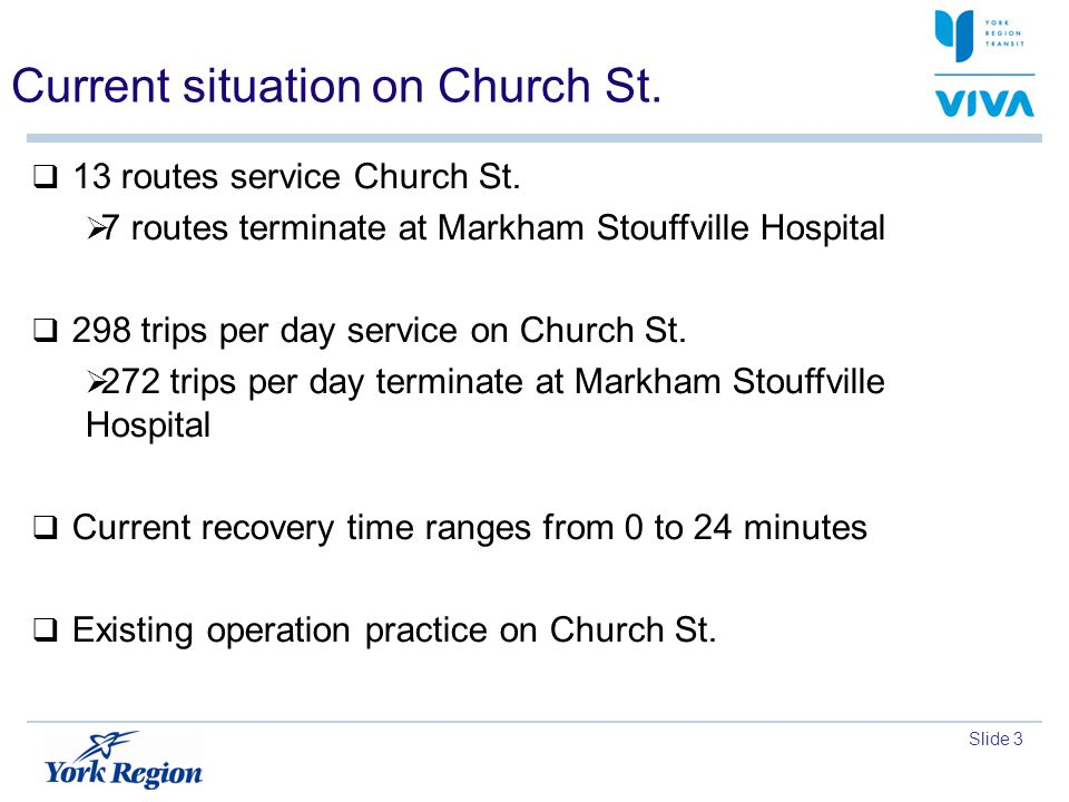 Slide 3 Current situation on Church St.13 routes service Church St.