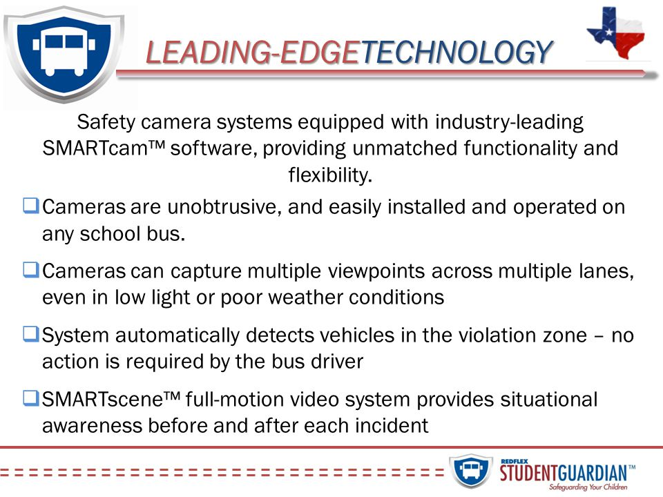 LEADING-EDGETECHNOLOGY Safety camera systems equipped with industry-leading SMARTcam software, providing unmatched functionality and flexibility. Came