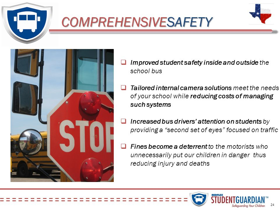 Improved student safety inside and outside the school bus Tailored internal camera solutions meet the needs of your school while reducing costs of man