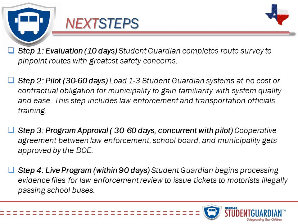NEXTSTEPS Step 1: Evaluation (10 days) Student Guardian completes route survey to pinpoint routes with greatest safety concerns. Step 2: Pilot (30-60