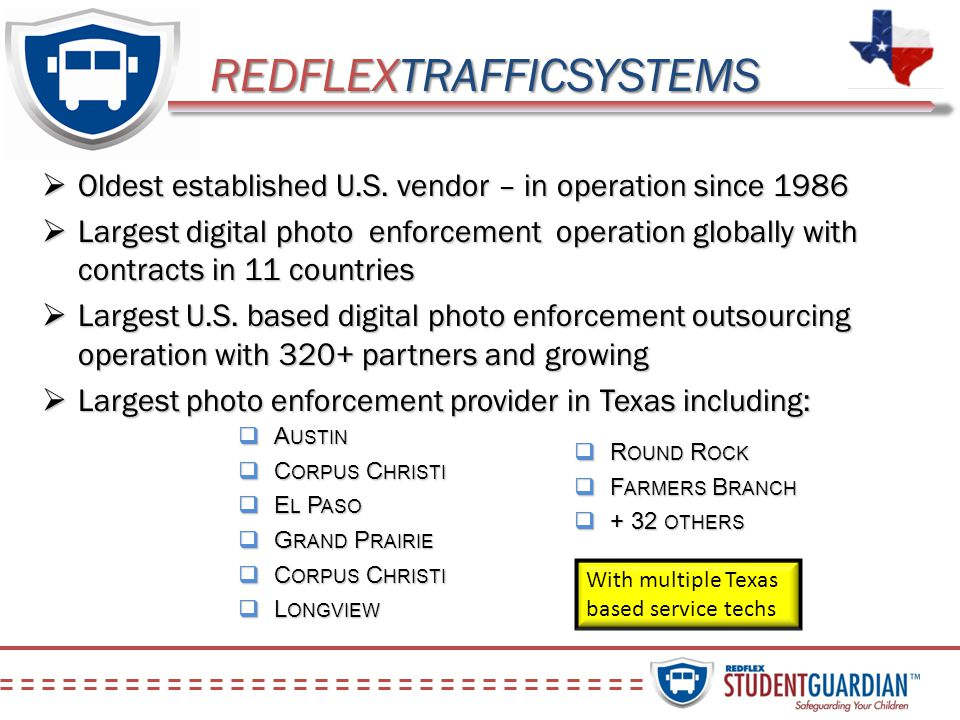 REDFLEXTRAFFICSYSTEMS Oldest established U.S. vendor – in operation since 1986 Oldest established U.S. vendor – in operation since 1986 Largest digita