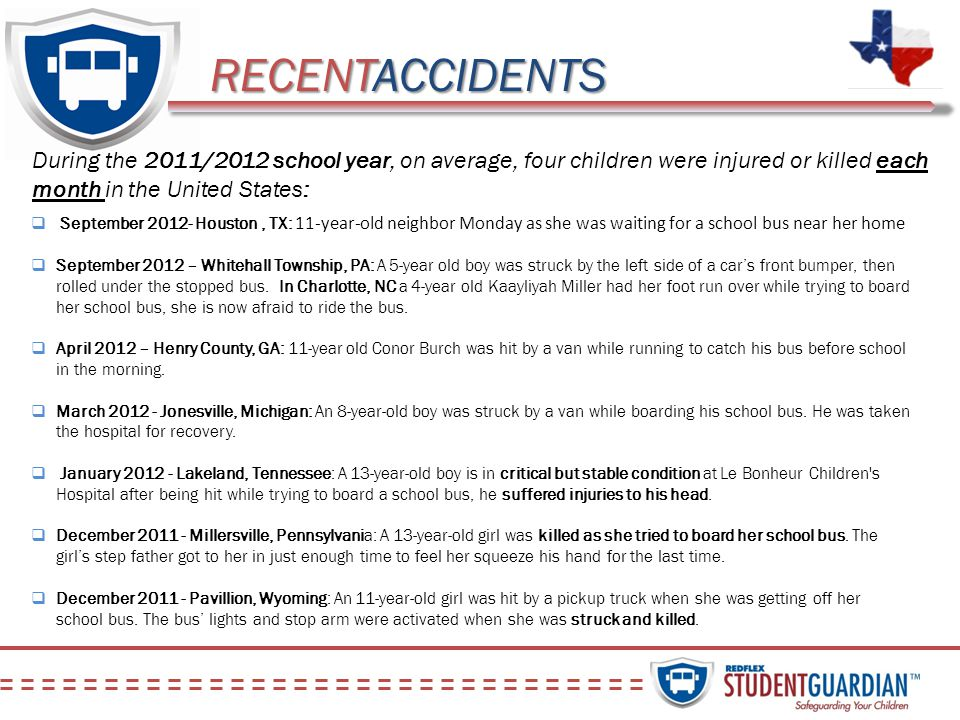 RECENTACCIDENTS During the 2011/2012 school year, on average, four children were injured or killed each month in the United States: September 2012- Ho