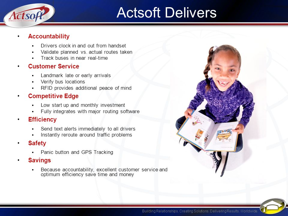 Building Relationships. Creating Solutions. Delivering Results. Worldwide. Actsoft Delivers Accountability Drivers clock in and out from handset Valid