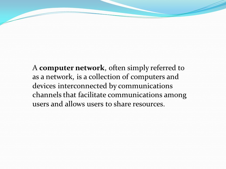 LAN - Local Area Network A LAN connects network devices over a relatively short distance.