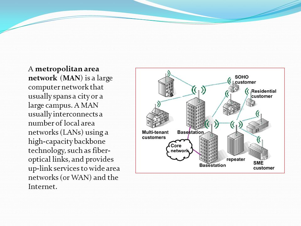 A metropolitan area network (MAN) is a large computer network that usually spans a city or a large campus. A MAN usually interconnects a number of loc