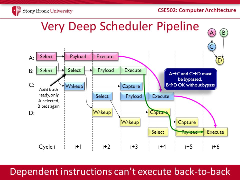 CSE502: Computer Architecture Very Deep Scheduler Pipeline Select Payload A: Execute Capture C: Cycle i Wakeup i+1i+2i+3 Select Payload Execute Wakeup Capture Select Payload Execute i+4i+5 D: A A C C B B D D Wakeup Capture B: Select Payload Execute A&B both ready, only A selected, B bids again A C and C D must be bypassed, B D OK without bypass A C and C D must be bypassed, B D OK without bypass i+6 Dependent instructions cant execute back-to-back