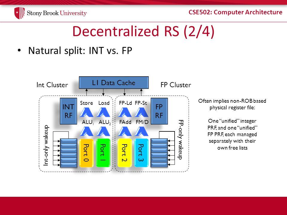 CSE502: Computer Architecture Decentralized RS (2/4) Natural split: INT vs. FP Port 1 Port 3 StoreLoad ALU 1 ALU 2 FP-Ld FP-St FAddFM/D L1 Data Cache