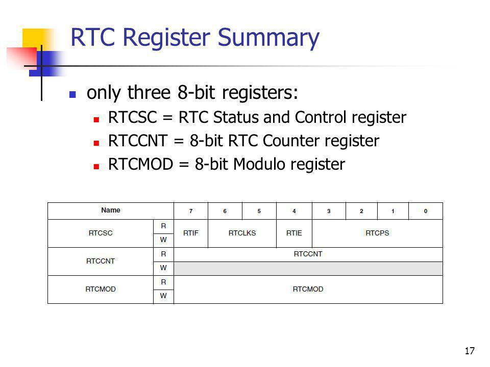 RTC Register Summary only three 8-bit registers: RTCSC = RTC Status and Control register RTCCNT = 8-bit RTC Counter register RTCMOD = 8-bit Modulo reg