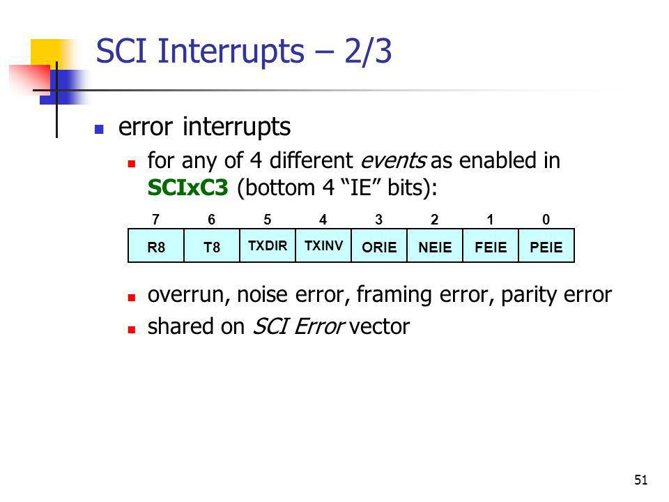 51 SCI Interrupts – 2/3 error interrupts for any of 4 different events as enabled in SCIxC3 (bottom 4 IE bits): overrun, noise error, framing error, p