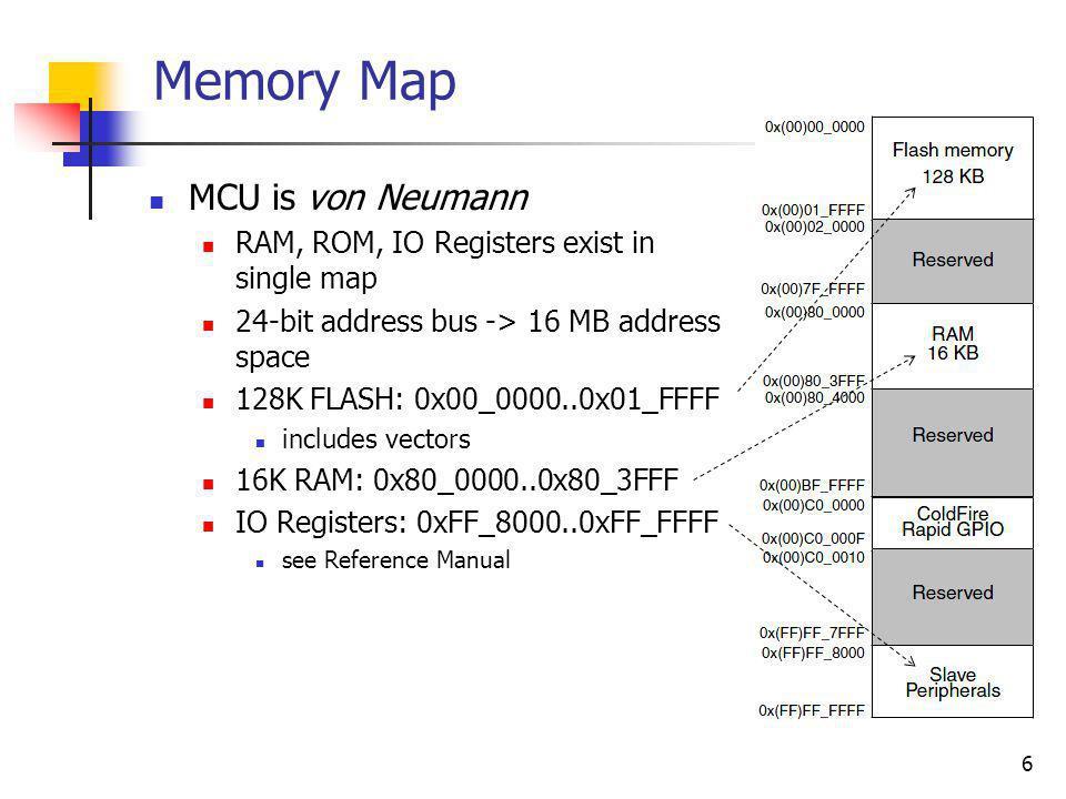 6 Memory Map MCU is von Neumann RAM, ROM, IO Registers exist in single map 24-bit address bus -> 16 MB address space 128K FLASH: 0x00_0000..0x01_FFFF