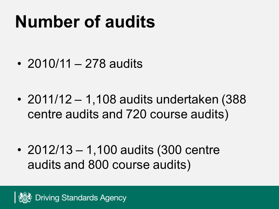 Number of audits 2010/11 – 278 audits 2011/12 – 1,108 audits undertaken (388 centre audits and 720 course audits) 2012/13 – 1,100 audits (300 centre audits and 800 course audits)