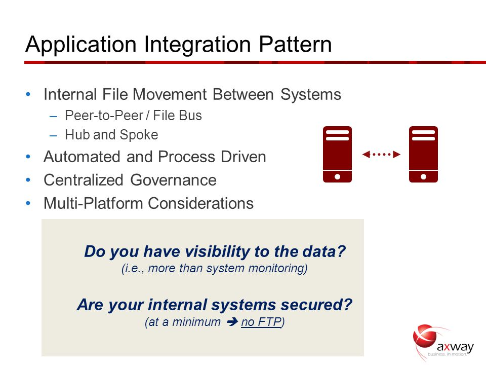 Application Integration Pattern Internal File Movement Between Systems –Peer-to-Peer / File Bus –Hub and Spoke Automated and Process Driven Centralize