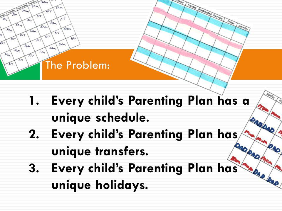 The Problem: 1.Every childs Parenting Plan has a unique schedule.