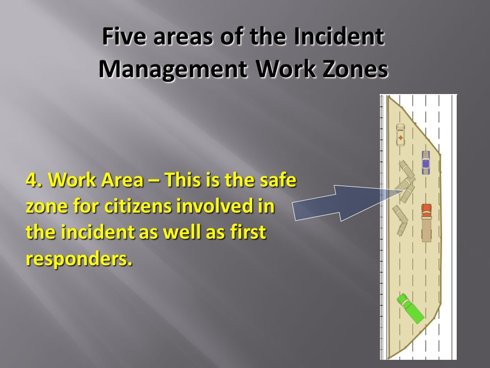 4. Work Area – This is the safe zone for citizens involved in the incident as well as first responders. Five areas of the Incident Management Work Zon
